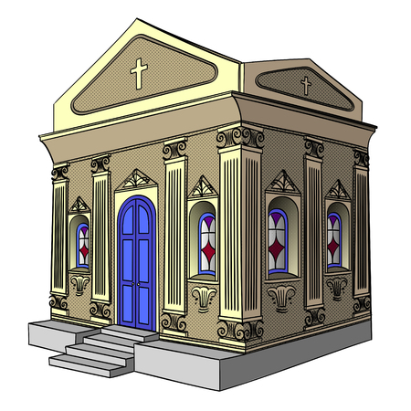 Object on white background vector. Crypt, cemetery, church, building. Иллюстрация