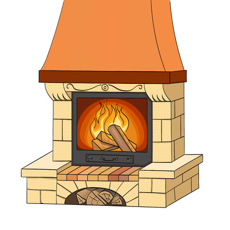 Object on white background vector. A brick fireplace burns a tree. Works and heats. The background is red.