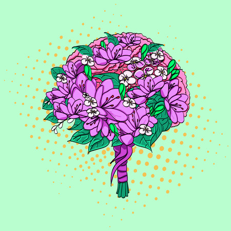 Pop art, vector. Wedding bouquet of the bride. Flowers lisianthus, eustom or prairie gentian. Matricaria