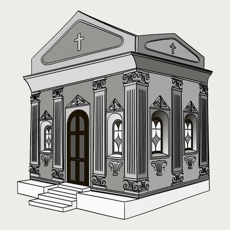 Shades of gray, vector. Crypt, cemetery, church, building. Иллюстрация
