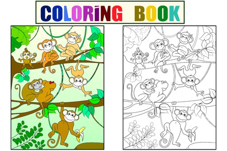 Family of monkeys on a tree color book for children cartoon vector. Coloring, black and white