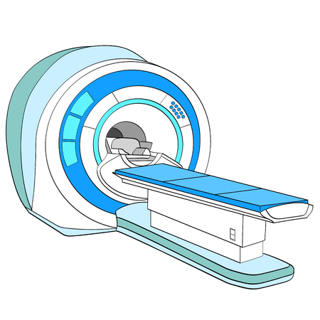 Scanner computerized tomography scanner , magnetic resonance imaging machine, medical equipment. Object on white