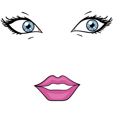 Object on white background. Eyes and lips of a beautiful girl. Fashion style.