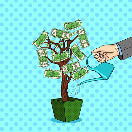 Style comics vector pop art. A mans hand pours a money tree with green dollars. Watering can with water. Illustration