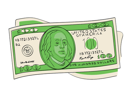A hundred dollars pile object on a white background. Scientist, publicist and diplomat Benjamin Franklin Иллюстрация