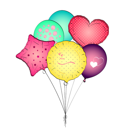 A toy balloon or party balloon pop art vector. Set object on white background Illustration