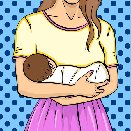 The baby is in her mother s arms. Pop art vector