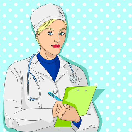Woman doctor. A girl in a dressing gown and medical clothes. Collects an anamnesis, a survey and a health card. Pop art vector