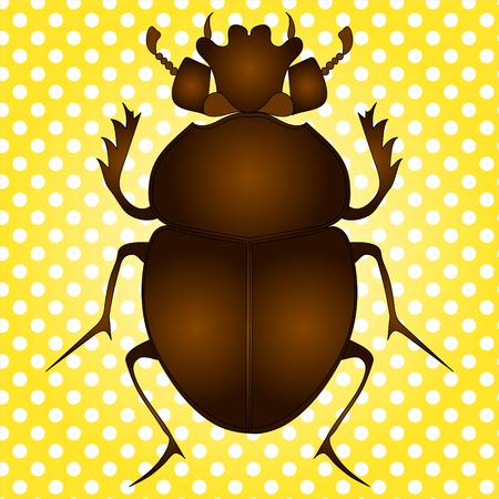 Pop art vector. Egyptian Scarab beetle. Brown color on vintage background Illustration