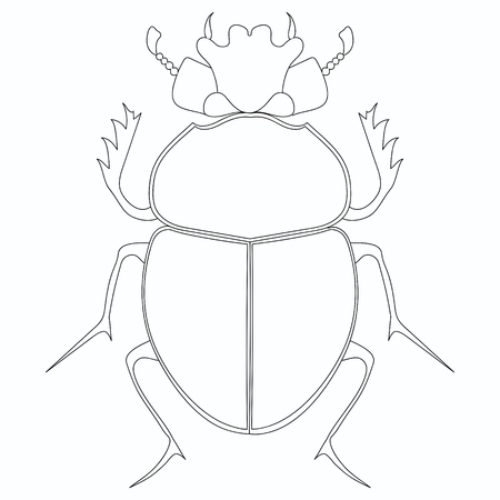 Coloring vector. Egyptian Scarab beetle.