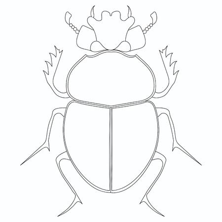 Coloring vector. Egyptian Scarab beetle.