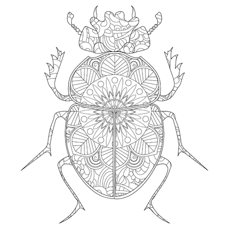 Anti-stress coloring book vector. Egyptian Scarab illustration.