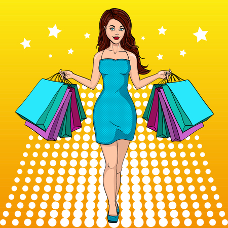 Girl with shopping. I bought a lot of clothes. Gift bags. Fashion illustration. Pop art style.