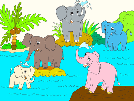 Family of African elephants color book for children cartoon vector Illustration