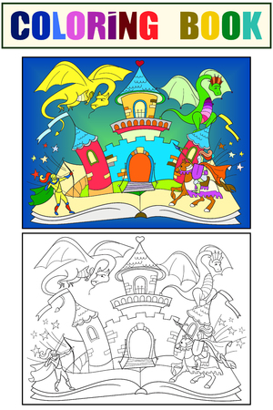 Color fairy open book tale concept kids illustration with evil dragon, brave warrior and magic castle. Coloring, black and white