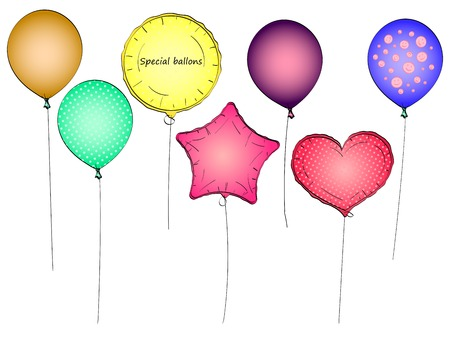 Set toy balloon or party balloon pop art vector. Object on white background Illustration