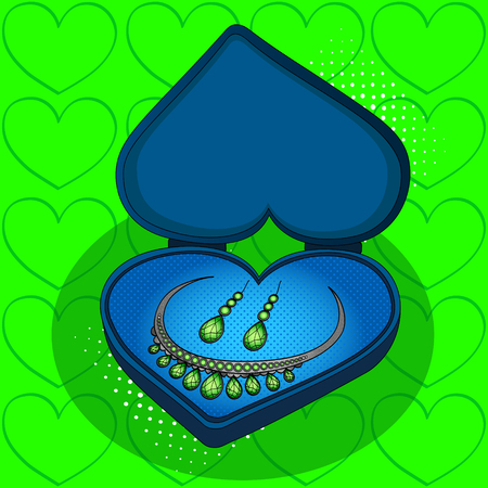 On blue gift box in the shape of heart pop art retro vector. Imitation of the style of comics. Jewelry Set Green