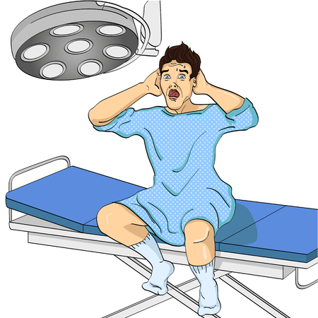 The man on the operating table, Medical theme, imitation of the comic style. Object on white background vector illustration. Illustration