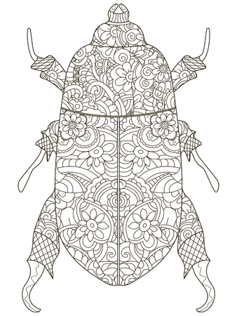 Darkling beetle. Anti Stress Coloring Book. Vector object Egyptian beetle. Black lines on a white background.