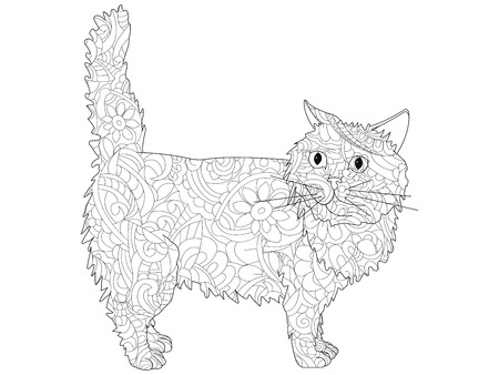 Anti Stress Coloring Book. Vector object of a cat. Black lines on a white background.