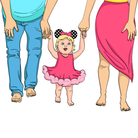 The first steps of the child. Support for parents. Object on white background vector illustration