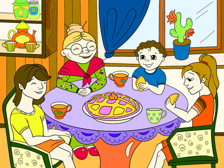 Colorful illustration of a grandmother with her grandchildren in the table.