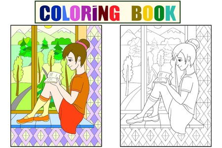 The beautiful girl sitting on a windowsill and read book, looking out the window color. Coloring, black and white