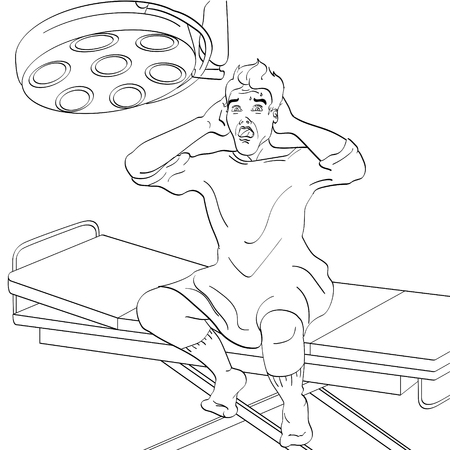 The man on the operating table. Medical theme, imitation of the comic style. Object coloring book vector illustration