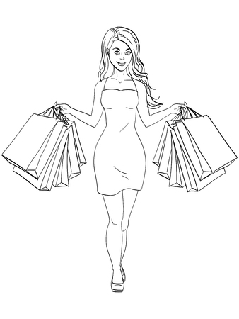 Girl with shopping. I bought a lot of clothes. Gift bags fashion. Object coloring book vector illustration Çizim