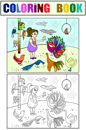 Childrens cartoon color the contact birds zoo. Bird picture book. Ornithology for the girl. Coloring, black and white Vectores