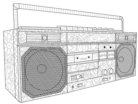 Tape deck or tape machine antistress coloring electronic equipment. Tape recorder for cassettes. Vector Illustration