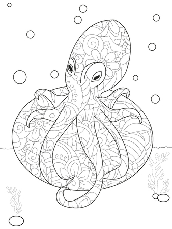 Octopus on the stone anti stress coloring. Marine animal vector Illustration