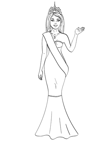 Miss the world of beauty. The girl, the winner of the contest of models. Object on white background coloring book.