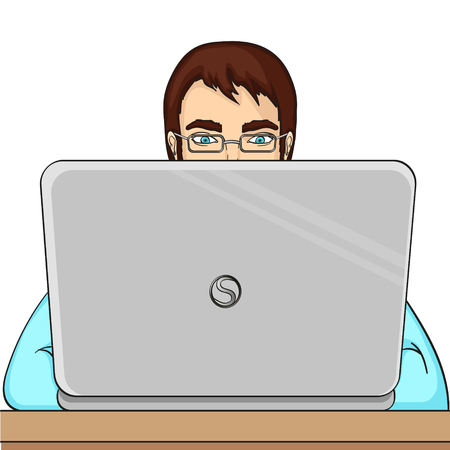 A male programmer works for laptops. IT staff at the computer vector object on a white background.