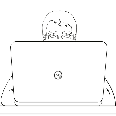 A male programmer works for laptops. IT staff at the computer. Illustration, object on white background, coloring book.