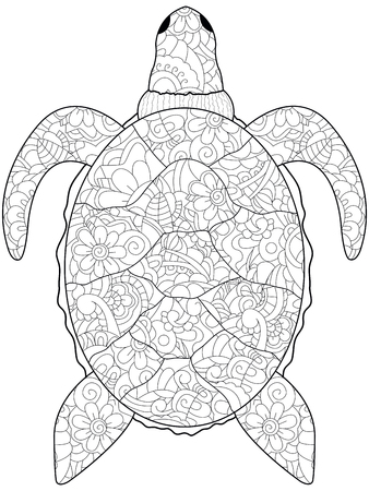 Anti-stress coloring sea animal, Turtle black lines on a white background.
