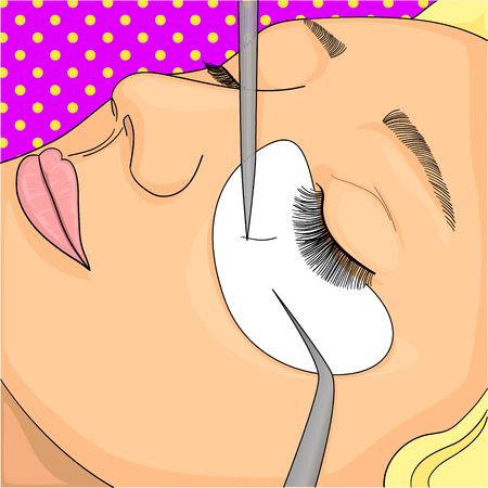 The process of eyelash extensions in the beauty salon. Pop art vector illustration. Imitation comic style Stock Photo