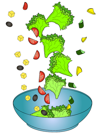 Ingredients Greek salad or Horiatiki salad. Proper nutrition. Food vector illustration.
