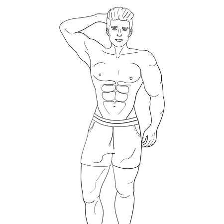 Man sex symbol on the beach vector object on a white background, coloring book. Illustration