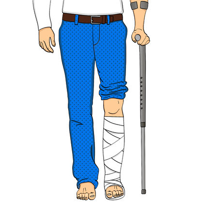 Pop art men legs in plaster, cane and support. Rehabilitation means vector object on a white background. Ilustrace