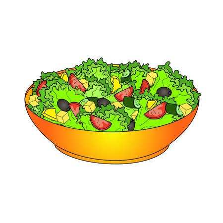 Greek salad or horiatiki salad. Proper nutrition food vector object on a white background. Illustration