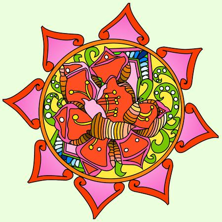 Mandala flower decoration, hand drawn round ornament vector