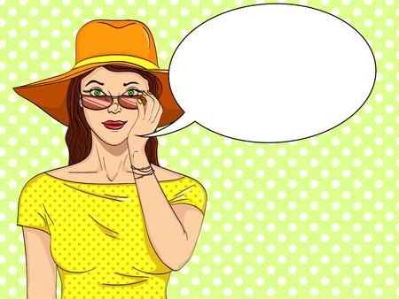 Woman looks through sunglasses pop art retro vector illustration. Comic book style imitation. Text bubble.
