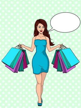 Compulsive buying disorder, or oniomania. Girl with shopping. I bought a lot of clothes. Gift bags. Fashion illustration. Pop art vector. Imitation of a comic strip. Text bubble.