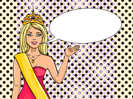 Miss the universe, the world of beauty. The girl, the winner of the contest of models. Vector illustration, pop art. The imitation of the comic style. Text bubble.