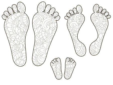 Footprints, dad, mom and baby. Anti stress coloring, vector illustration for adults Illustration
