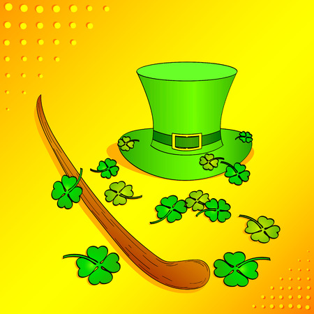 Pop art set on the theme of Saint Patric Day. The gnome hat, clover, cane or trole. Imitation comic style vector illustration