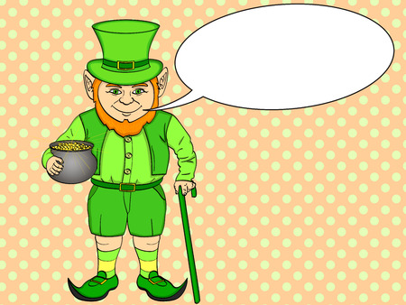Leprechaun pop art. happy St. Patrick holds a cauldron full of gold coins in his hands. Imitation comic style vector illustration. Text bubble.