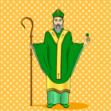 Pop art patron saint of Ireland. Saint Patrick holding a trefoil and crosier staff with greeting ribbon and reminder date of his patron day in March 17. Imitation comic style vector illustration Illustration