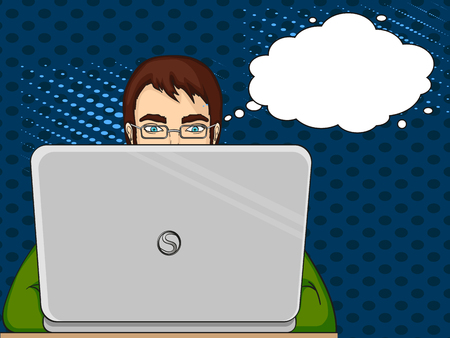 A male programmer works for laptops. IT staff at the computer. Pop art vector illustration.